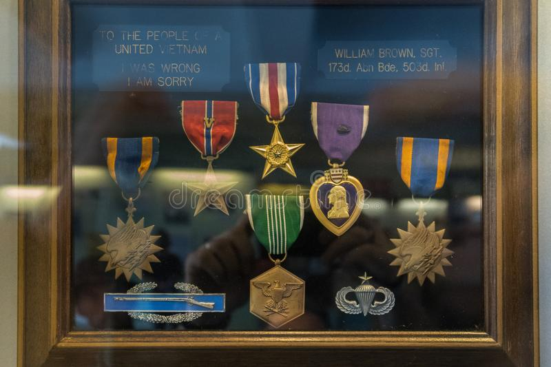 Returned Medals at the War Remnants Museum in Ho Chi Minh City f. Ormer Saigon in Vietnam stock photo