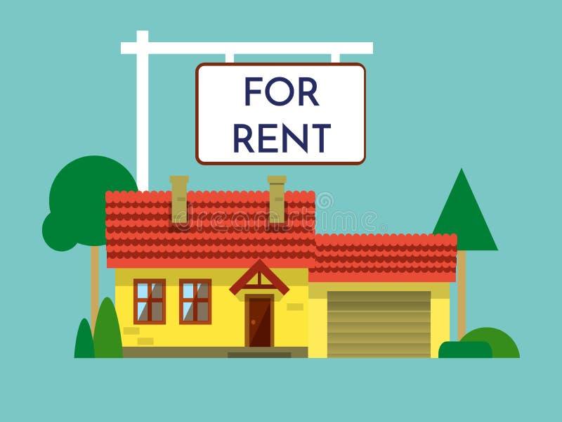 Returnera för hyrasymbol Real Estate begrepp, mall för försäljningar, hyra som annonserar Hus med ett isolerat tecken hus stock illustrationer