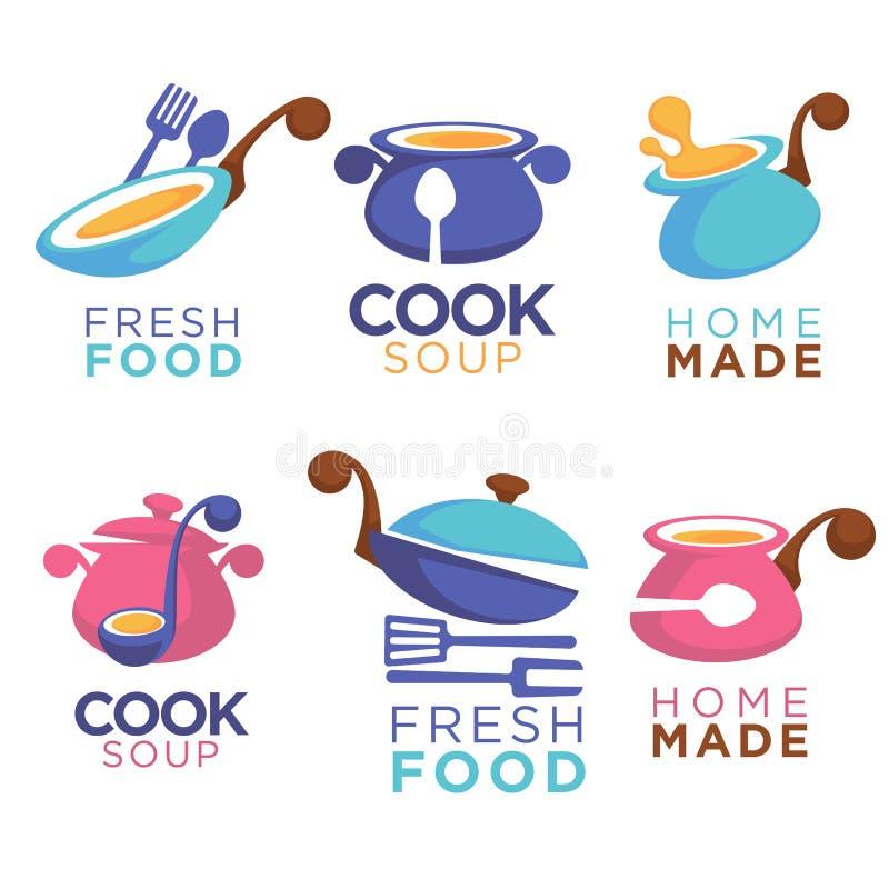 Returnera gjord mat, vektorsamlingen av logoen, symboler och emblemet fo royaltyfri illustrationer