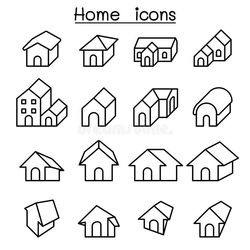 Returnera, inhysa symbolsuppsättningen i den tunna linjen stil stock illustrationer