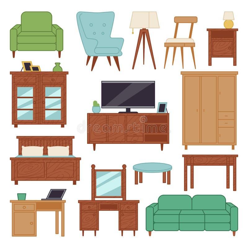 Returnerar inre symboler för möblemang för vardagsrumhuset för designen illustrationen för vektorn för soffan för lägenheten för  vektor illustrationer