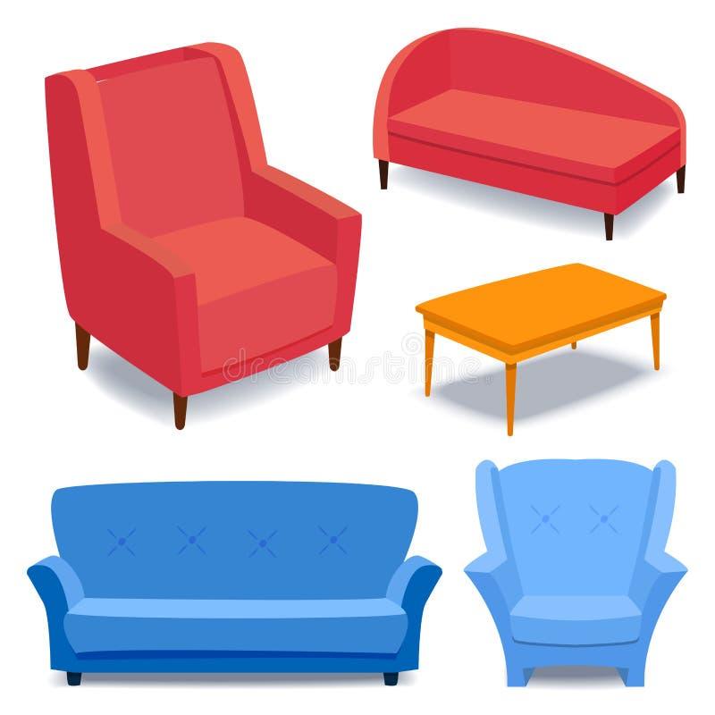 Returnerar inre symboler för möblemang för vardagsrumhuset för designen illustrationen för vektorn för soffan för lägenheten för  royaltyfri illustrationer