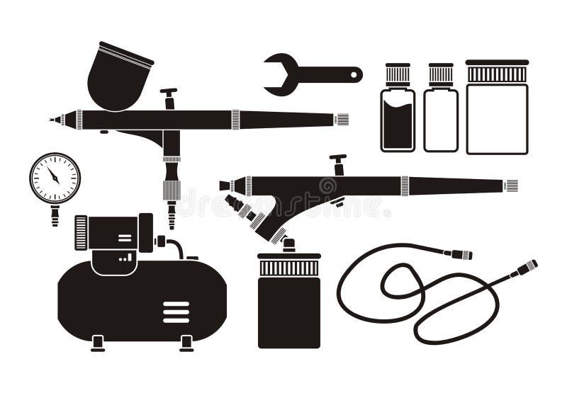 Retuschsprutautrustning - pictogram stock illustrationer