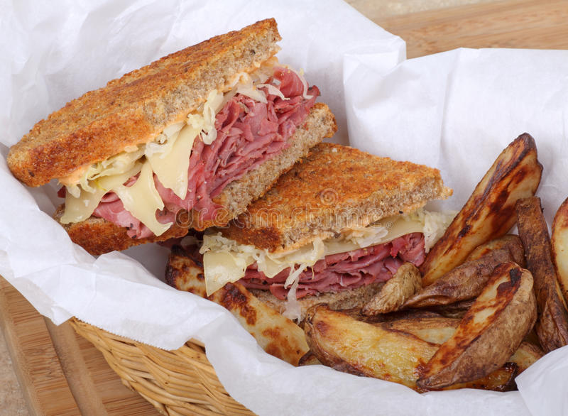 Download Reuben Sandwich and Fries stock photo. Image of meat - 23609922