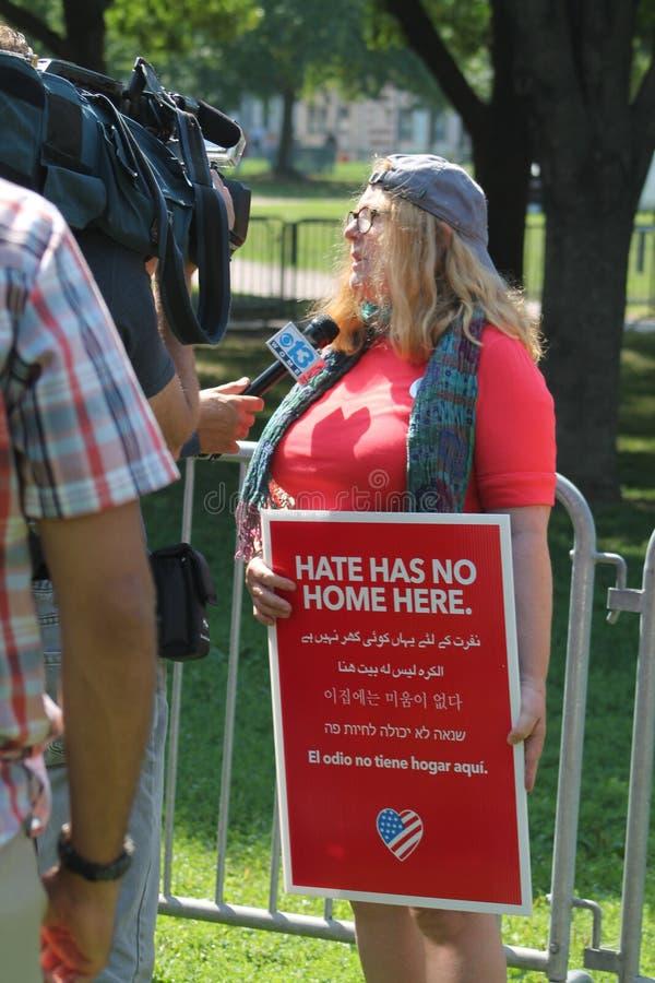 Reunião Boston 2017 do Anti-ódio imagens de stock