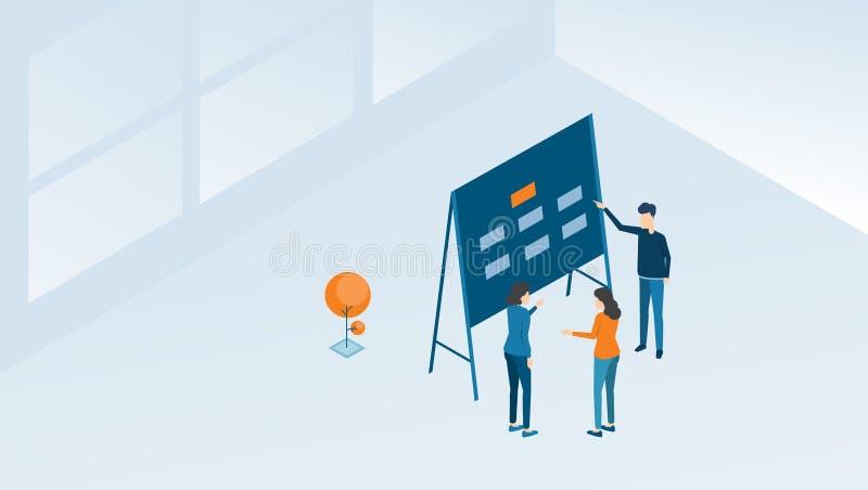 Reunião da equipe do negócio e processo isométricos da sessão de reflexão do projeto ilustração stock