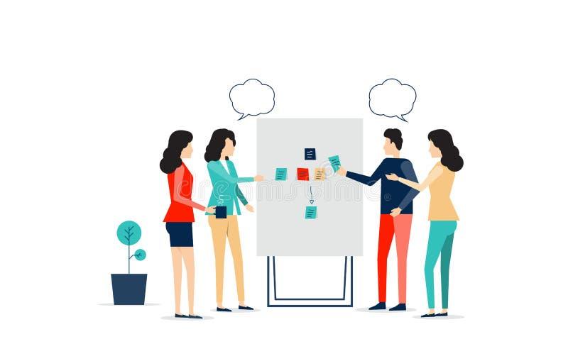 Reunião da equipe do negócio e processo da sessão de reflexão do projeto ilustração do vetor