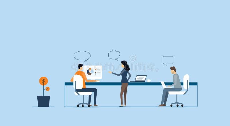 Reunião da equipe do negócio do grupo e conceito do funcionamento ilustração royalty free
