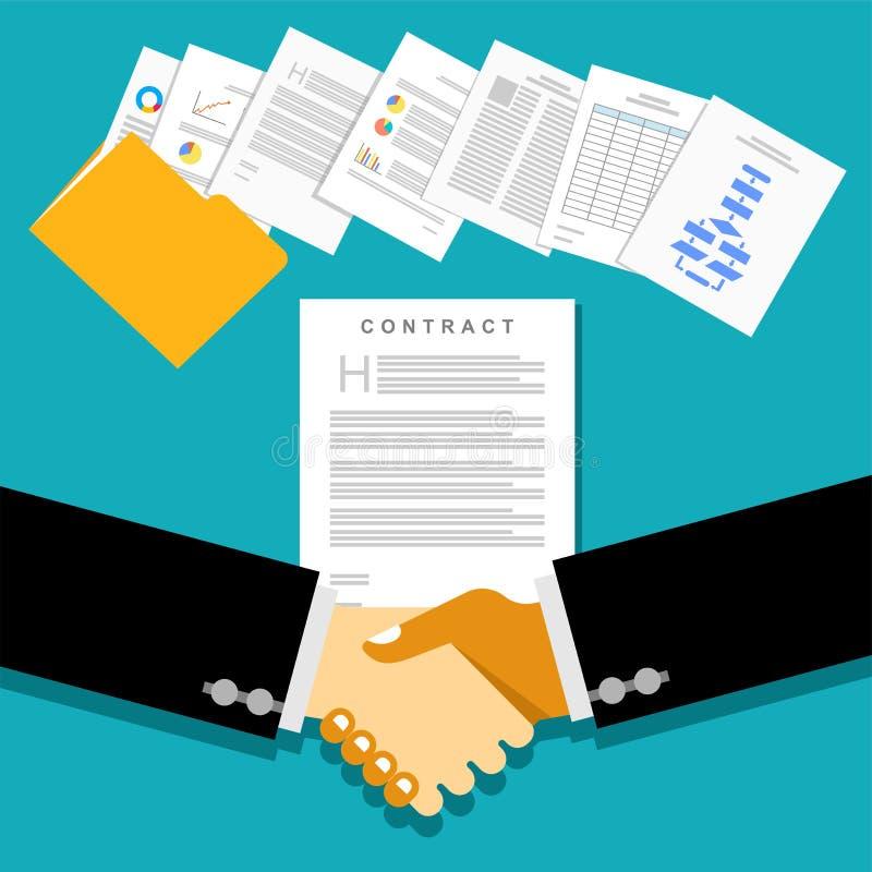Reunião da parceria do negócio com contratos ou acordos do original ilustração royalty free