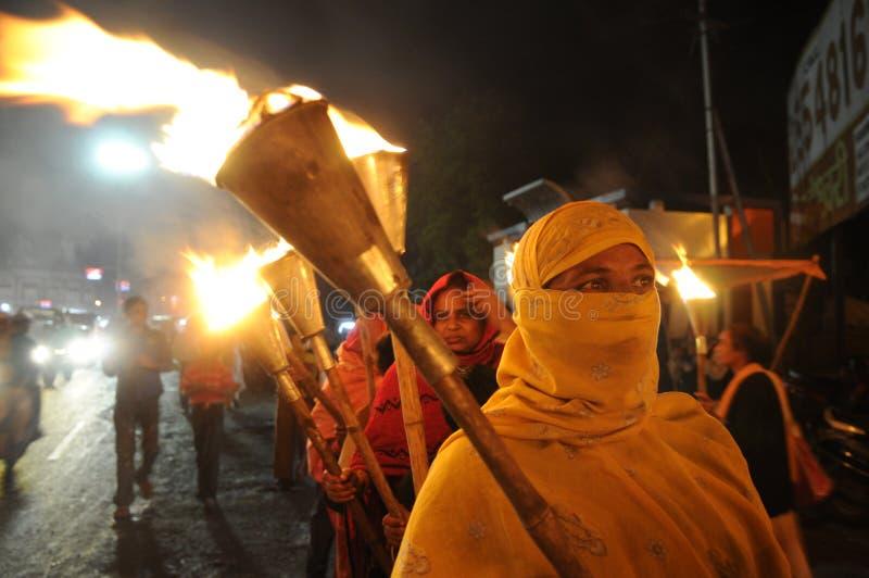 Reunião da tocha de Bhopal. fotos de stock royalty free