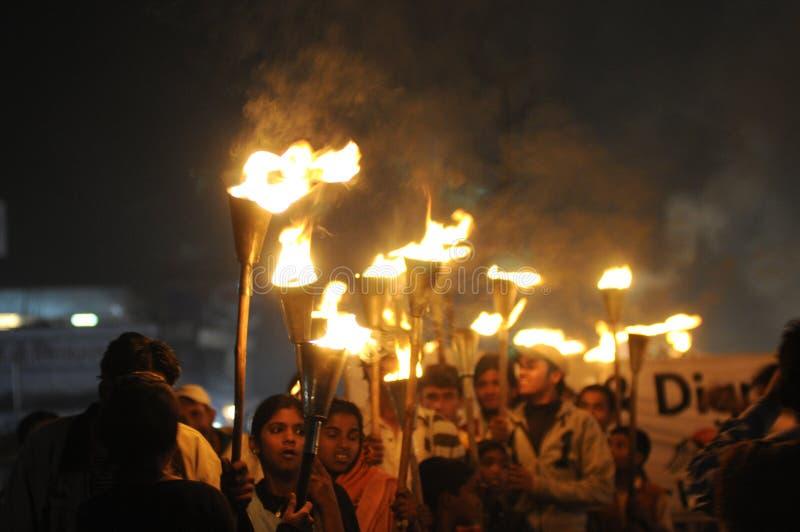 Reunião da tocha de Bhopal. foto de stock
