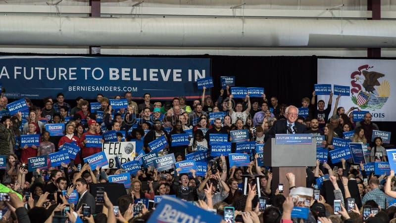 Reunião de Bernie Sanders em Illinois imagens de stock