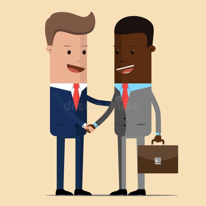 A reunião de dois homens de negócios e apertos de mão do negócio reunião dos dois políticos, diplomatas, sócios ou amigos cumprim ilustração stock