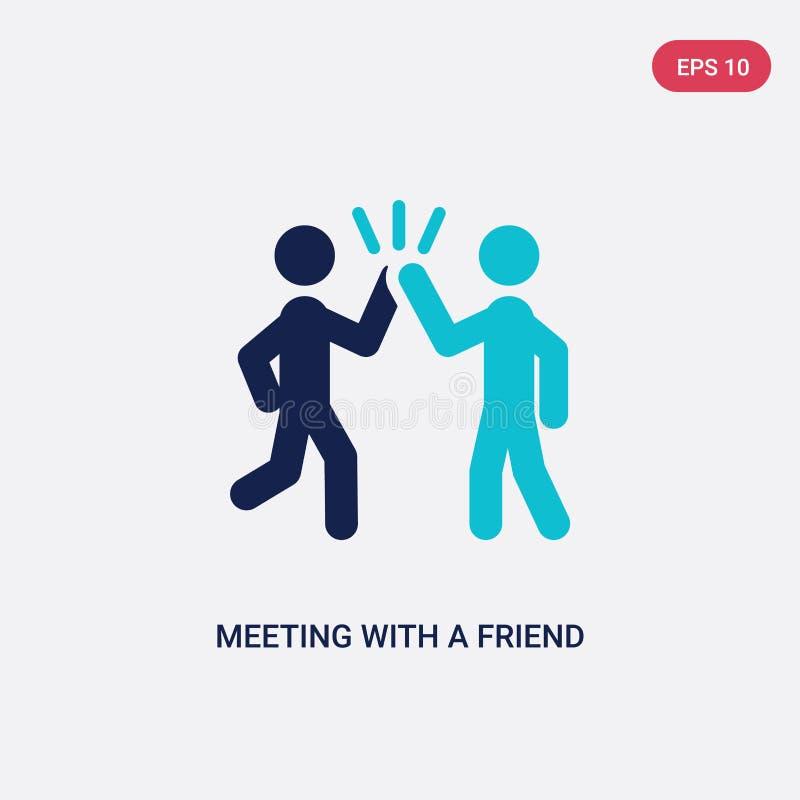 reunião de duas cores com um ícone do vetor do amigo da atividade e do conceito dos passatempos reunião azul isolada com um sinal ilustração stock