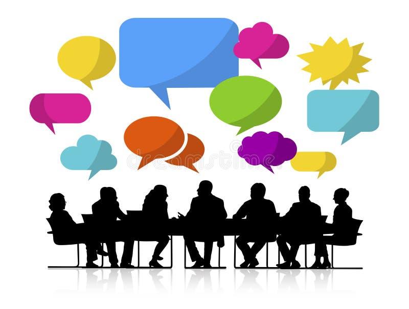 Reunião de grupo de pessoas com bolhas do discurso ilustração stock