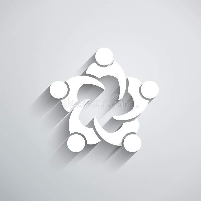Reunião de grupo de pessoas no círculo estilo do papel do vetor 3D ilustração do vetor