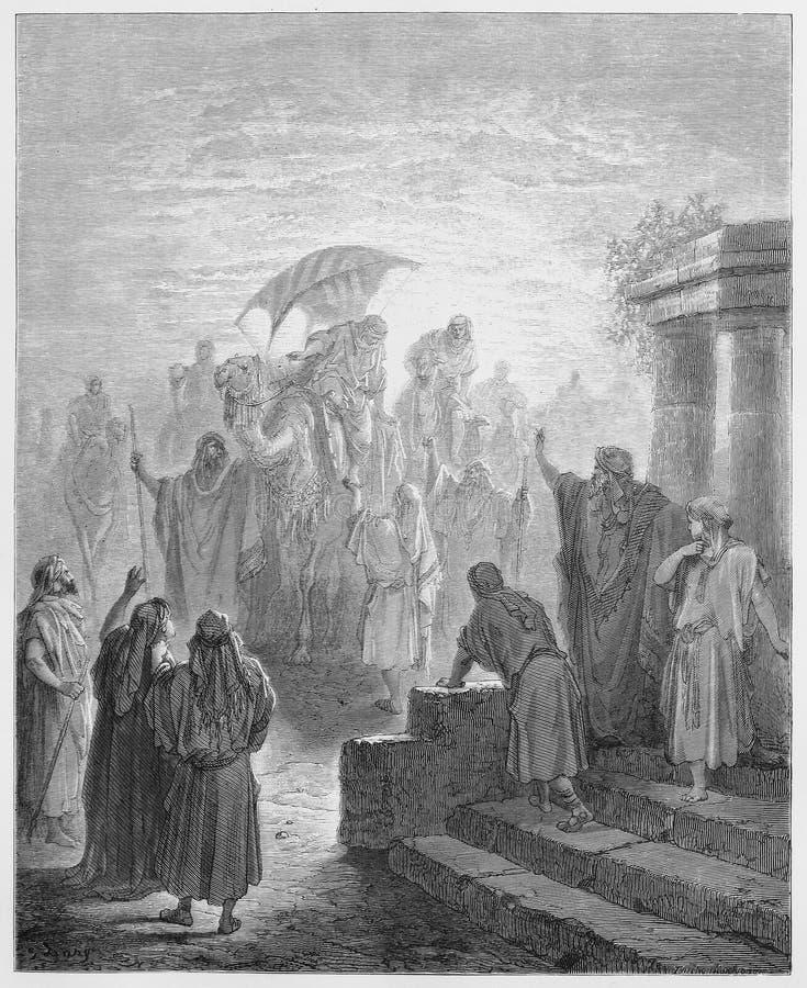 Reunião de Isaac e de Rebekah ilustração royalty free
