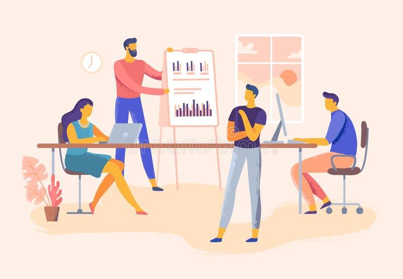 Reunião de negócio Apresentação das habilidades da equipe do escritório, gestão da empresa e ilustração do vetor do planeamento d ilustração do vetor