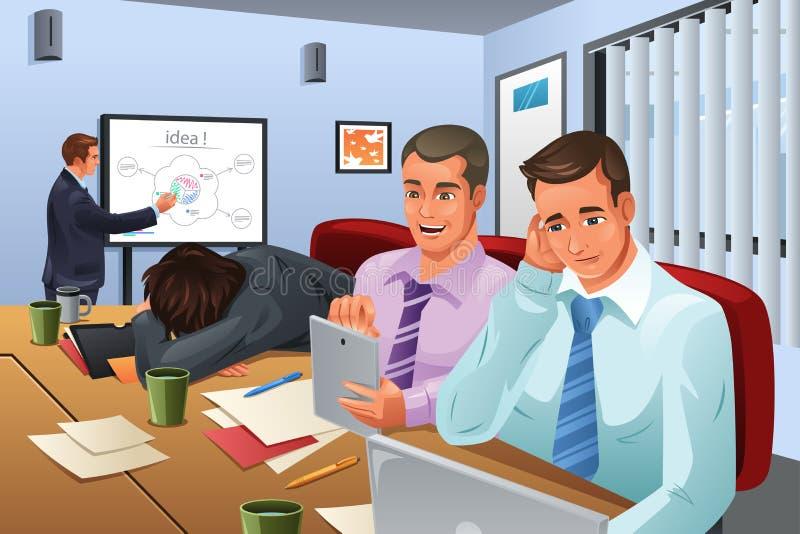 Reunião de negócios aborrecida ilustração royalty free