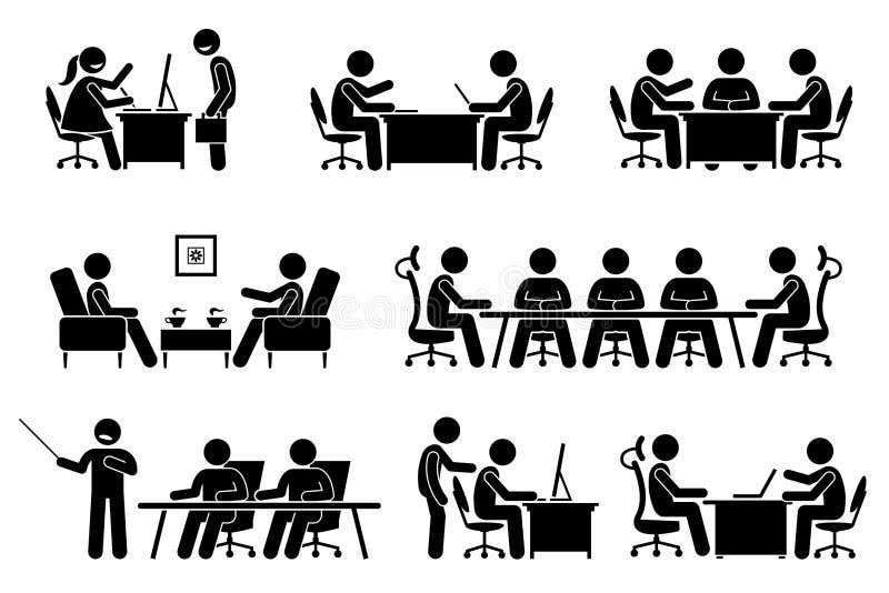 Reunião de negócios, conferência, e discussão do homem de negócios ilustração royalty free