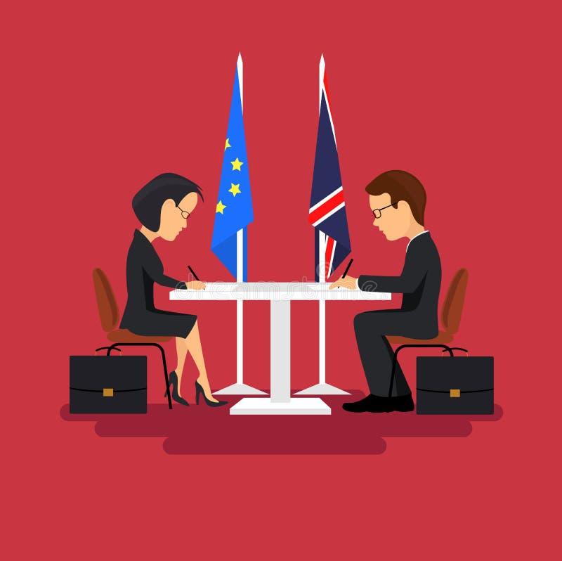 Reunião de negócios dos políticos, assinatura dos acordos Estilo liso ilustração do vetor