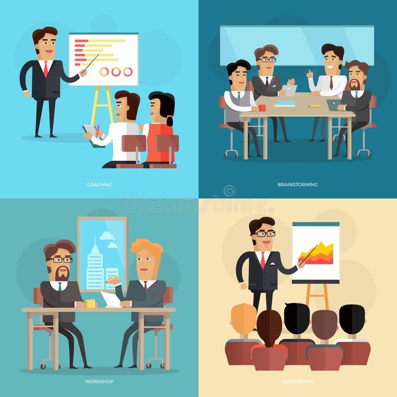 Reunião de negócios e cartaz do vetor da apresentação ilustração do vetor