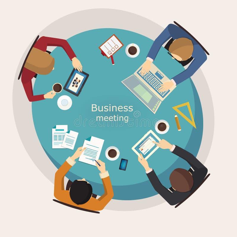 Reunião de negócios e sessão de reflexão Projeto liso ilustração stock