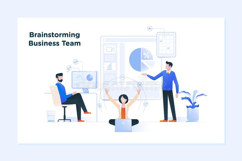 Reunião de negócios e sessão de reflexão Conceito do negócio para trabalhos de equipa ilustração do vetor