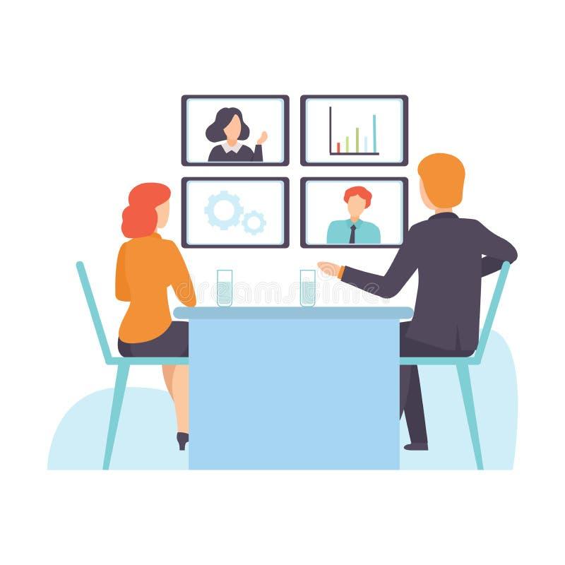 Reunião de negócios em linha, apresentação, treinamento profissional, pessoa que comunica-se através da ilustração do vetor do In ilustração royalty free