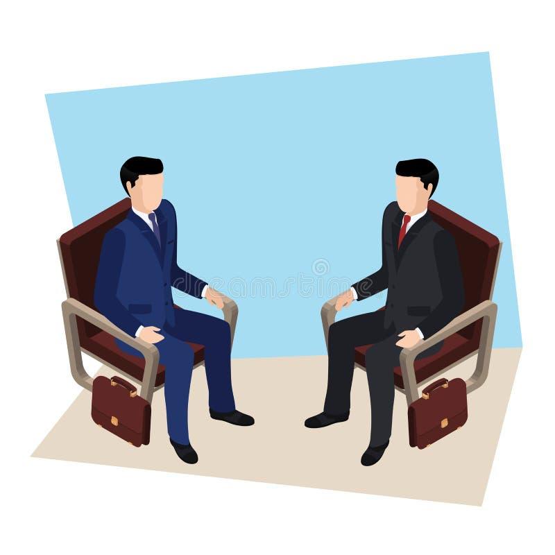 A reunião de negócios, homens em ternos de negócio está sentando-se ilustração stock