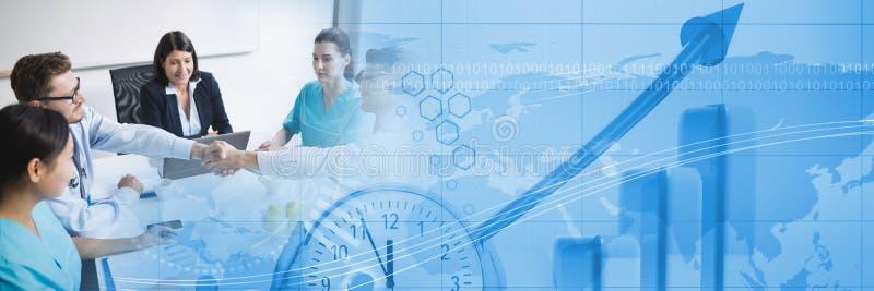 Reunião de negócios médica com transição azul do gráfico da finança fotos de stock royalty free