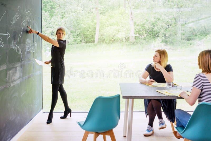 A reunião de negócios de uma fêmea começa acima imagens de stock