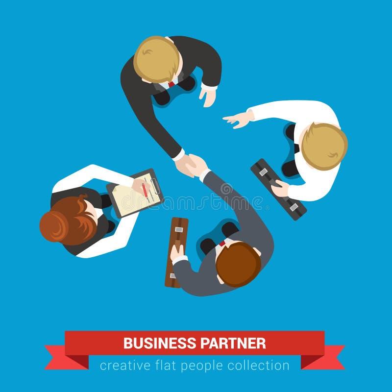 Reunião do contrato do negócio do aperto de mão do sócio comercial no vetor liso ilustração royalty free