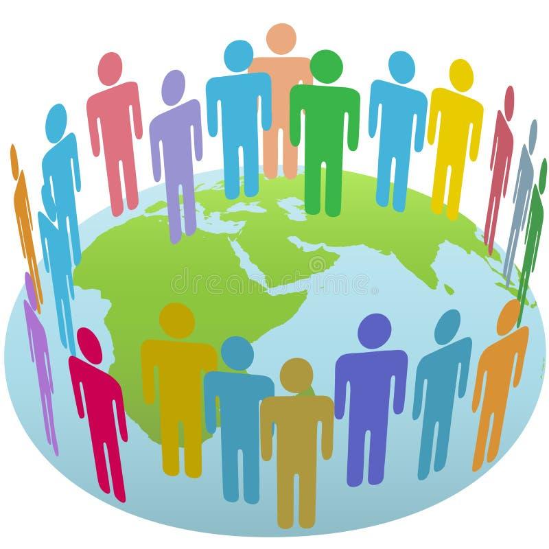 Reunião do grupo dos povos do mundo no globo oriental da terra ilustração stock