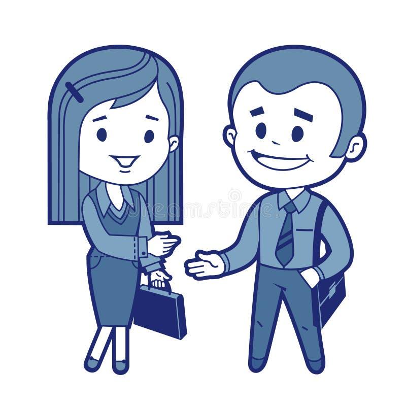 Reunião do homem de negócios e da mulher de negócio ilustração royalty free
