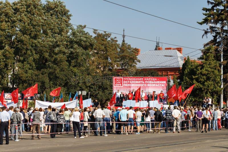 Reunião do Todo-russo contra levantar a idade da reforma fotos de stock