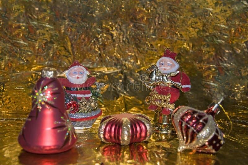 Reunião dois Santa Clauses fotografia de stock