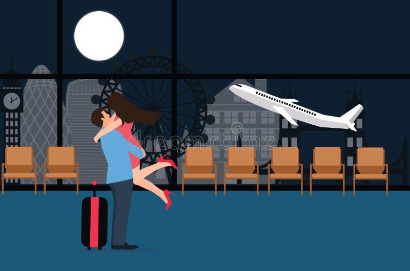 A reunião dos pares na aterrissagem do aeroporto decola o fundo plano de adeus do amor da noite da partida ilustração royalty free