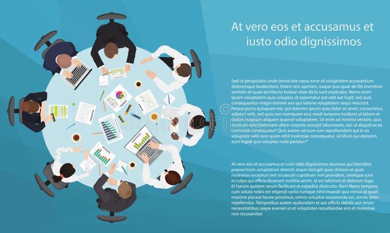 Reunião dos trabalhos de equipa da gestão empresarial e conceito da sessão de reflexão Mesa redonda no ponto de vista superior ilustração royalty free