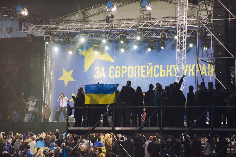 Reunião a favor da integração europeia. Ucrânia imagens de stock