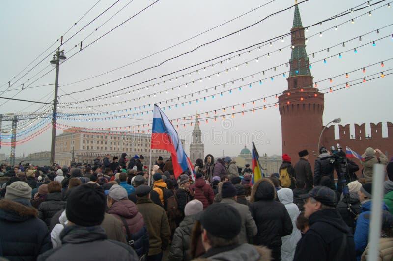 Reunião maciça Moscou no 1º de março de 2015 fotografia de stock