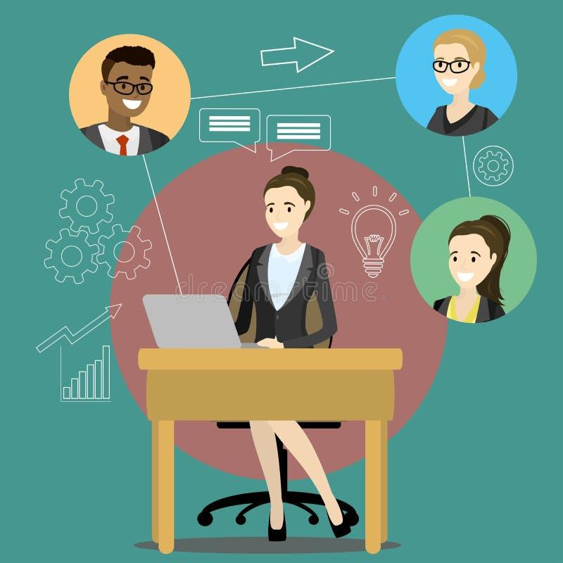 Reunião ou discussão em linha usando aplicações web ilustração royalty free