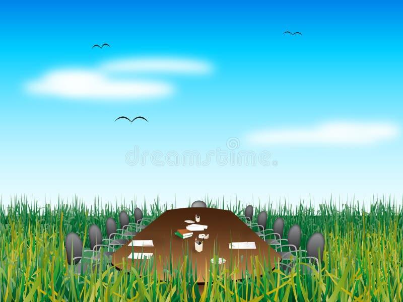 Reunión abstracta sobre hierba stock de ilustración