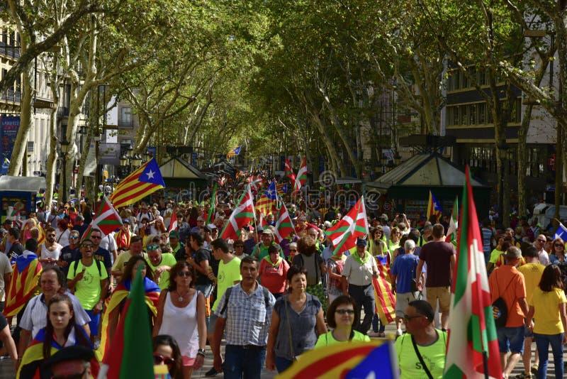 Reunión catalana de la independencia en Barcelona, España foto de archivo