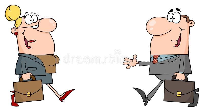 Reunión caucásica del hombre de negocios y de la mujer libre illustration