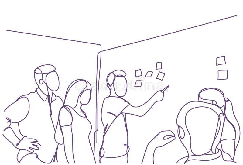 Reunión creativa de Team Brainstorming At Board Room del negocio, grupo de hombres de negocios y trabajo de los garabatos de las  stock de ilustración