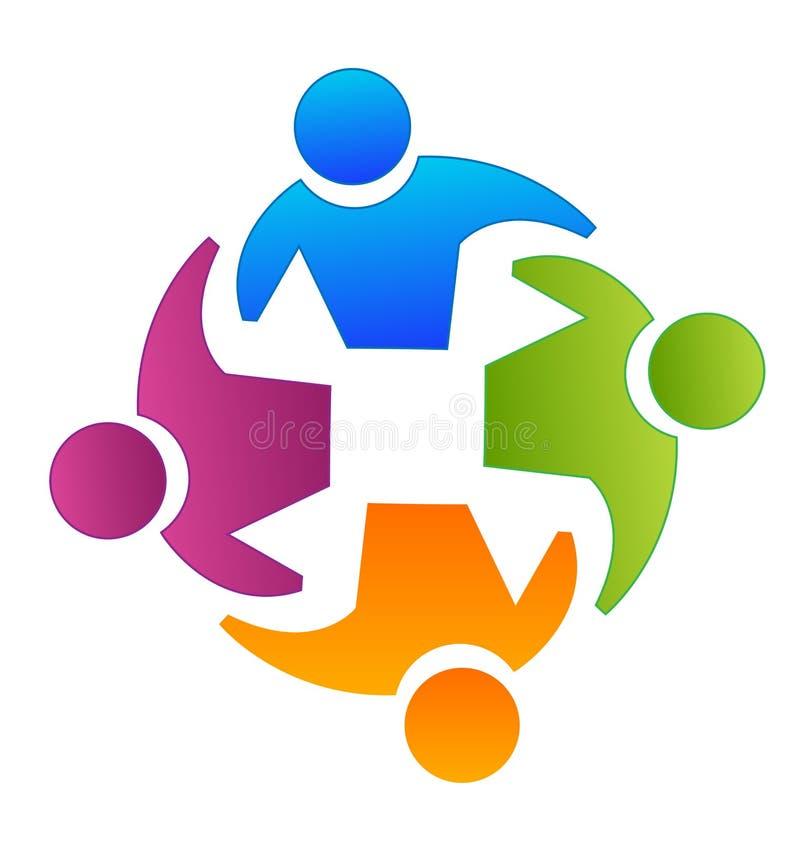 Reunión de grupo del trabajo en equipo, planeamiento y discusión, vector del logotipo fotos de archivo