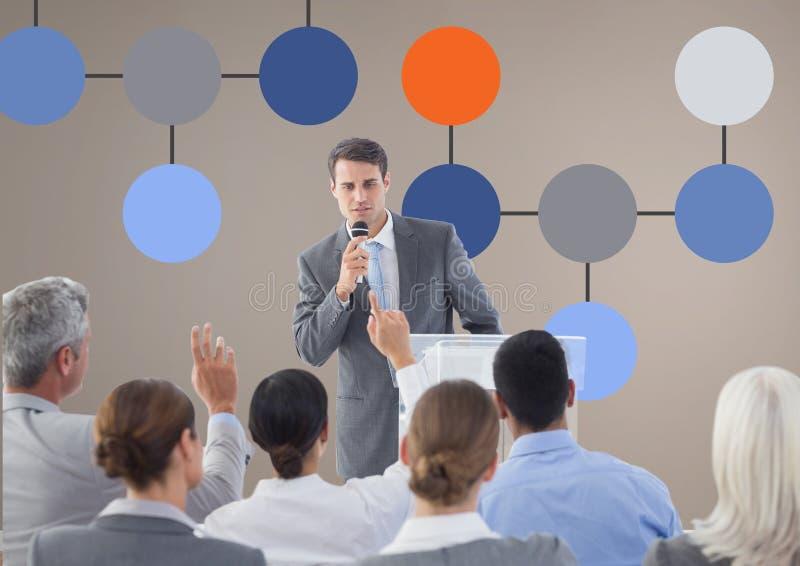 Reunión de grupo y mapa de mente colorido sobre fondo de la pared imagen de archivo libre de regalías