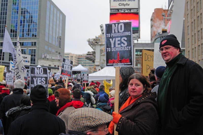 Reunión de la Anti-Prórroga en Toronto imagen de archivo libre de regalías