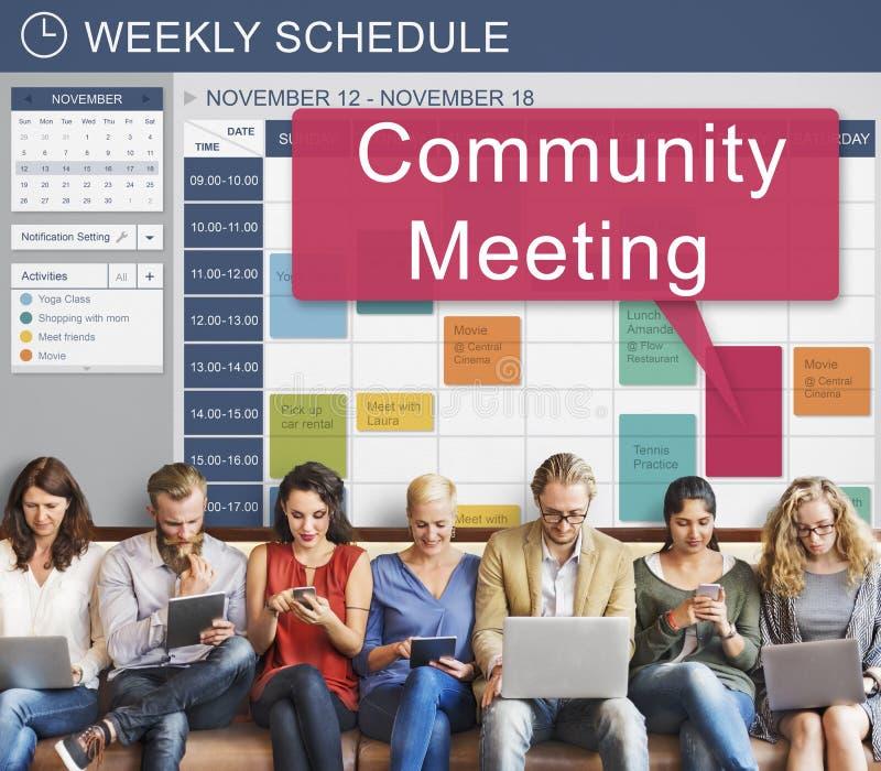 Reunión de la comunidad que recolecta la conferencia de la cooperación del planeamiento concentrada imagenes de archivo